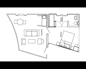 Deluxe Suite Floorplan - please note room sizes vary